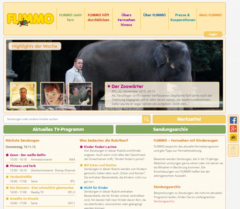 Screenshot der Flimmo Internetseite